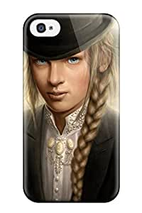 Rugged Skin Case Cover For Iphone 4/4s- Eco-friendly Packaging(fantasy Girl Boyish Black Suit Hat Cartoon Paint Book Novels Anime Other)