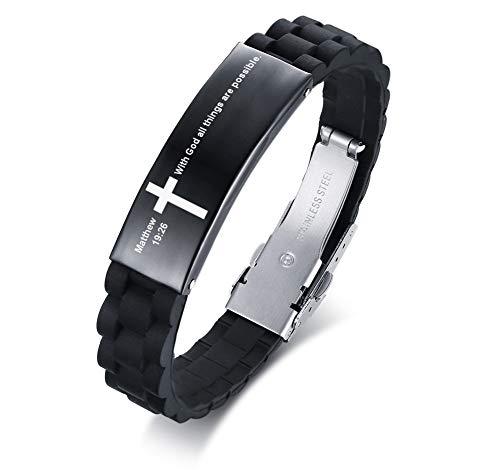 MEALGUET with God All Things are Possible Matthew 19:26 Inspiring Men's Christian Bibe Verse ID Bracelet Cross Wristband (Cross For Bracelets)