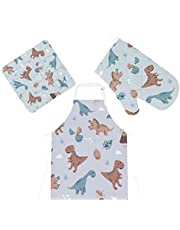 Cooking Apron 3PCS Set Dinosaurs Dino Eggs Heat Insulated Microwave Oven Mitts with Pot Holder Pads Kitchen Oven Gloves Protectors Mat Grilling Baking