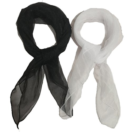 2 Pack 1950s Square Chiffon Scarf Sheer Square Neck Head Scarfs for Women,girls ()