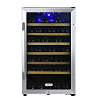 EdgeStar CWF440SZ 20 Inch Wide 44 Bottle Capacity Free Standing Wine Cooler with Reversible Door and LED Lighting