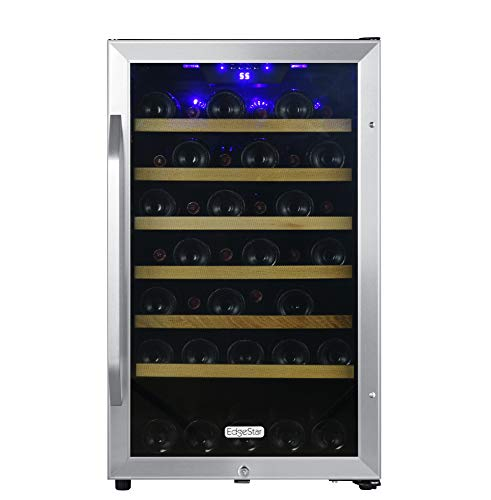 EdgeStar CWF440SZ 20 Inch Wide 44 Bottle Capacity Free Standing Wine Cooler with Reversible Door and LED Lighting (Racks Wood Edgestar)
