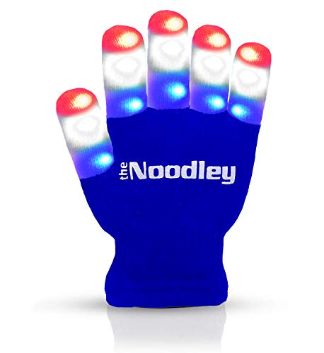 Glee Halloween Costumes Ideas (The Noodley Flashing LED Finger Light Gloves with Extra Batteries - Kid Sized - Blue,)