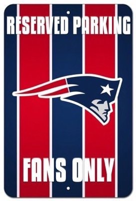 New England Patriots Vanity Reserved Parking Fans Street Sign (Fans Reserved Parking Sign)