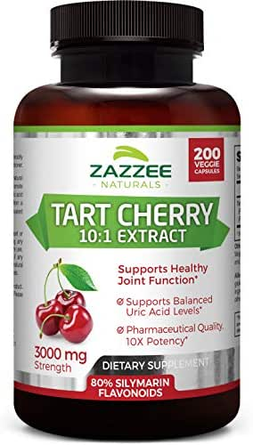Zazzee Tart Cherry Extract, 200 Veggie Caps, 3000 mg Strength, Potent 10:1 Extract, Over 6-Month Supply, Vegan, Non-GMO and All-Natural