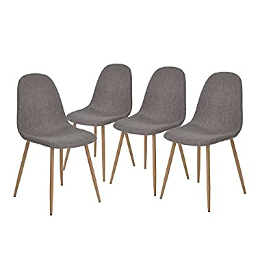 GreenForest Eames Chair Strong Metal Legs Fabric Cushion Seat and Back for Dining Room Chairs Set of 4,Gray