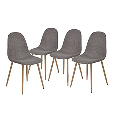 Greenforest Modern Dining Chair Set of 4 Grey Fabric Upholstered Seat Metal Legs Armless Side Chair for Kithchen - 【Fabric Dining Chairs Set of 4 】- Comfortable and breathable thicken padding fabric chair cushion seat and chair back, advanced ergonomic design,make you feel more relaxed. 【Comfortable and sturdy chairs】- Metal tube with wooden transfer legs,seat bottom with sturdy X-shape support,strong bearing strength,backing has a 'little radian',feel more comfortable. 【DIY Legs Dining Side Chairs】- Paint legs with prefer color by your creativity,the bottom of the chair legs has a plastic pads, soft rubber floor protectors for sensitive flooring. - kitchen-dining-room-furniture, kitchen-dining-room, kitchen-dining-room-chairs - 411r86USciL. SS400  -