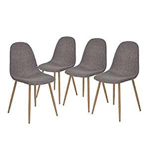GreenForest Dining Side Chairs Eames Style Strong Metal Legs Fabric Cushion Seat And Back For Room Set Of 4Gray