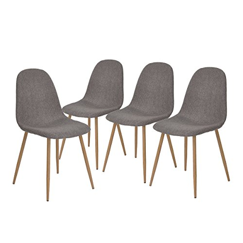 GreenForest Dining Chairs Set of 4,Metal Legs Fabric Cushion Seat Back Modern Dining Side Chairs,Gray (Best Fabric For Kitchen Chair Cushions)