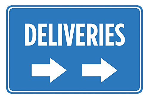 Deliveries Right Arrow Blue White Signs Poster Picture Wall Hanging Business Office Store Direction Sign - Aluminum Me