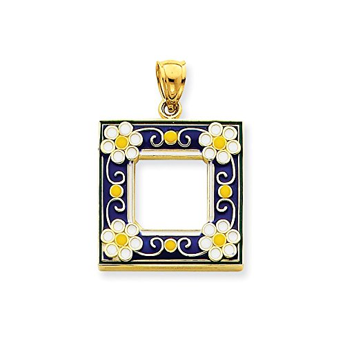 Enameled Picture Frame Pendant - 14k Blue Enameled Picture Frame Pendant, 14 kt Yellow Gold