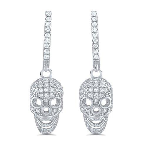 Sterling Silver Cz Skull Dangle Earrings - 23mm (Dangle Skull)