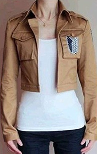 Buy-Box Women's Cos-me Attack on Titan Survey Corps Khaki Jacket Coat by Buy-Box (Image #2)