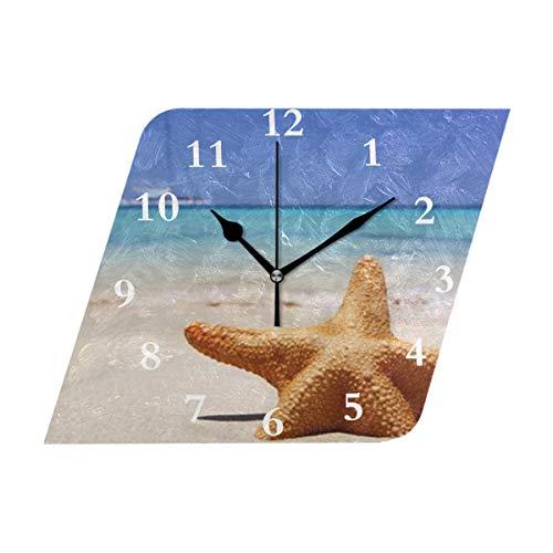 Diamond Outdoor Clock - HangWang Wall Clock Beach Starfish Customized Silent Non Ticking Decorative Diamond Digital Clocks Indoor Outdoor Kitchen Bedroom Living Room