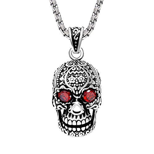 Fatu Fashion Men and Women's Stainless Steel Red-Eyed Skull Pendant Necklace, Silver, 24 inches Chain
