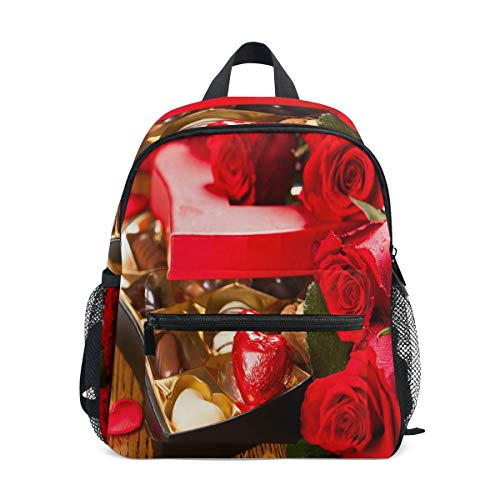 (Heart Shaped Box Of Chocolate Truffles With Red Roses Mini Kids All-in-One Pre-School Backpacks for Kindergarten Toddler Boy Girls)