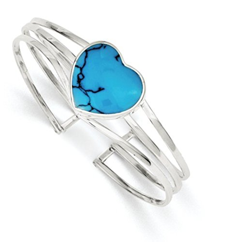 (Sterling Silver Simulated Turquoise Heart Triple Strand Fancy Cuff Bangle Bracelet)