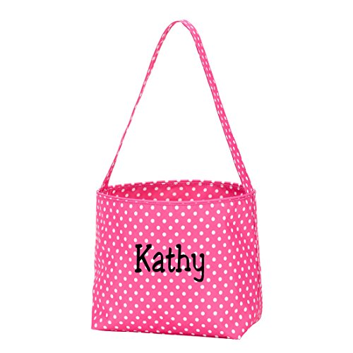 Large Fabric Bucket Tote Bag -Children's Toys- Easter - BabyCan Be Personalized (Personalized Pink Polka Dots)