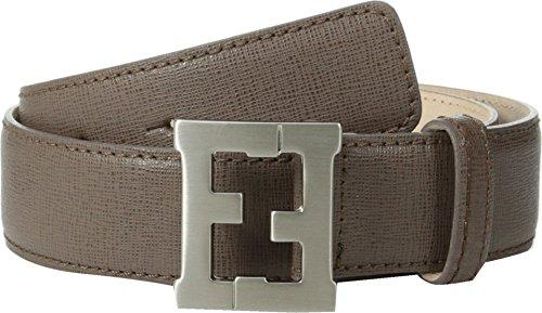 [Fendi Kids Boy's Leather Belt w/ Logo Buckle (Toddler/Little Kids/Big Kids) Brown Belt 8 Years] (Fendi Logo Buckle Belt)