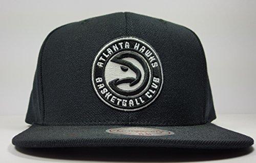 Mitchell & Ness Atlanta Hawks Solid Wool Black & White Logo Vintage Classic Adjustable Snapback Hat NBA