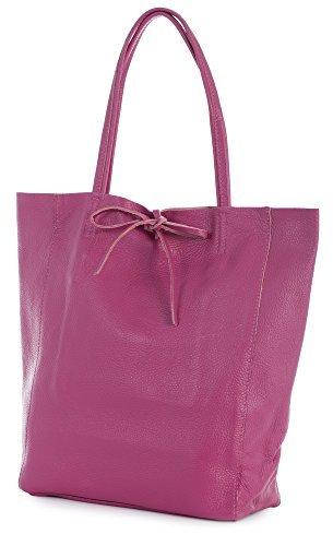 LIATALIA Genuine Italian Soft Leather Leightweight Large Hobo Tote Shopper Shoulder Handbag - ASTRID [Hot Pink] ()