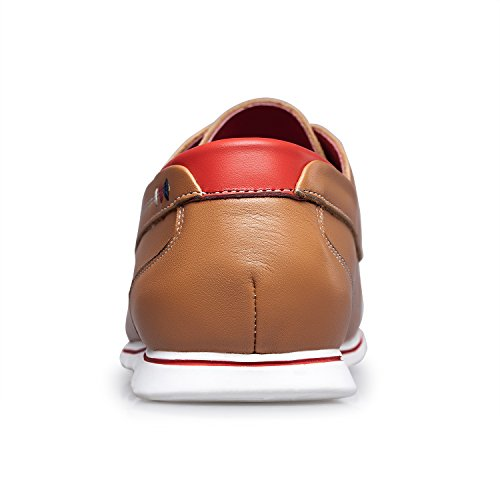 ZRO Men's Premium Genuine Leather Oxford Shoes Lace Up Casual LIGHT BROWN US 8.5 by ZRO (Image #4)