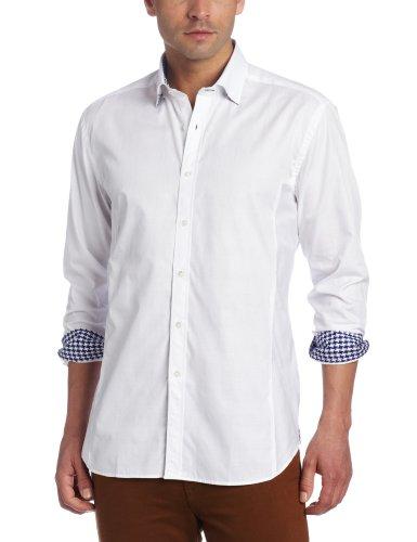 Stone Rose Men's Tone On Tone Stripe Woven Shirt, White, Medium