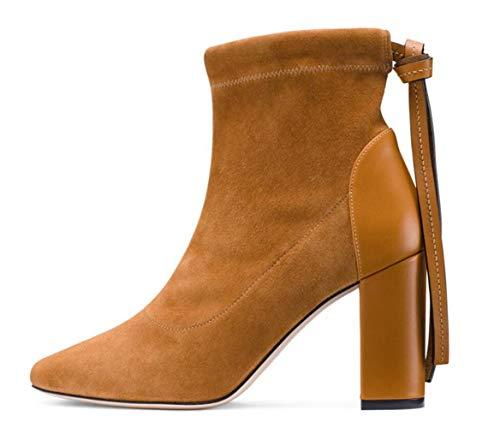 Punta Tassel A Punta Suede Chunky Fashion Punta Donna Stivaletti A Similpelle Heel in Nero Brown Marrone Shiney zwFUgqRR