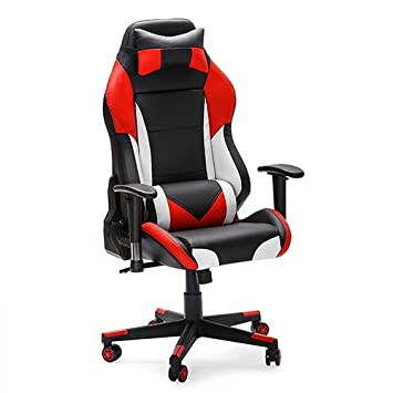 Furnirfun Comfortable Ergonomic Racing Chair, Sturdy Enlarged High-Back Gaming with Lumbar Support, Adjustable Swivel PU Leather Office Computer Chair. RED