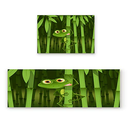 CHARMHOME Kitchen Rugs and Mats Set Funny Frog On Bamboo 2 Piece Floor Carpet Non-Slip Rubber Backing Doormat Runner Rug ()