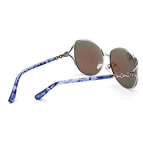 Rimme soleil classique Oversized de élégant de les protection pour unisexe Eyewear rétro Bleu Lady's UV lunettes impression Style et florale Décoration en protection polarisées lunettes soleil femmes métal TqF5Uz