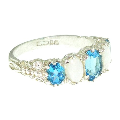 925 Sterling Silver Real Genuine Blue Topaz and Opal Womens Band Ring - Size 7