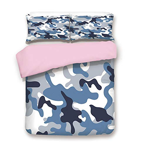 Pink Duvet Cover Set,Queen Size,Army Theme Image with Abstract Soft Color Commando Navy Military War Decorative,Decorative 3 Piece Bedding Set with 2 Pillow Sham,Best Gift For Girls Women,Slate Blue I - Pans Slate