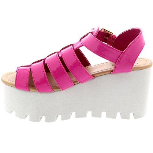 Viva Mujer Heeled Holograma Tiras Zapatos Festival Gladiador Cuña Sandalias Rosa Claro Patente