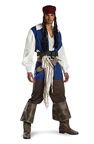[Mememall Fashion Pirates Caribbean Captain Jack Sparrow Classic Adult Costume] (Super Deluxe Captain Jack Sparrow Adult Costumes)