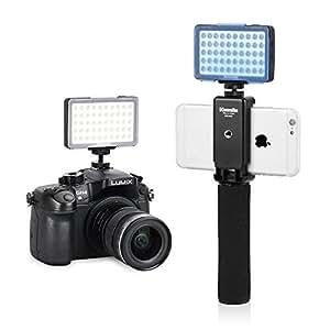 Commlite CM-L50II Luz de Video del Panel LED de Potencia Ultra Alta LED Regulable, Mini luz LED para teléfono Inteligente, Canon, Nikon, Panasonic, Sony, Samsung y Olympus (Negro sin asa)