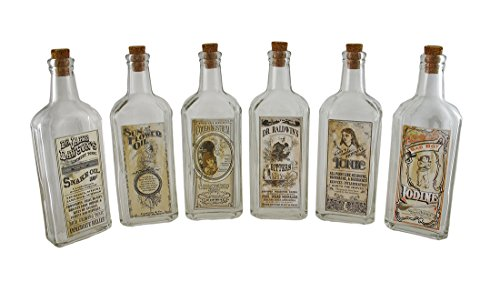 Zeckos Set of 6 Clear Glass Remedies Bottles w/Vintage Look Label ()