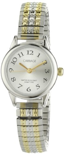 Carriage Women's C3C605 Silver-Tone Dial Two-Tone Stainless Steel Expansion Band - Timex Womens Carriage