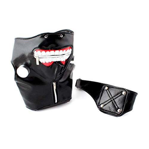 Polymer Halloween PU Leather Tokyo Ghoul Kaneki Ken Cosplay Mask Props Adjustable Zipper Mask Eye Patch (Black)