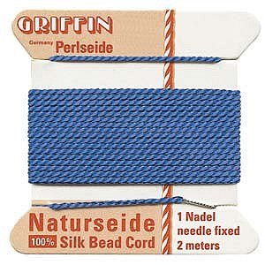 Griffin Silk Cord Bead Thread Size 4 - BLUE with Needle 42229