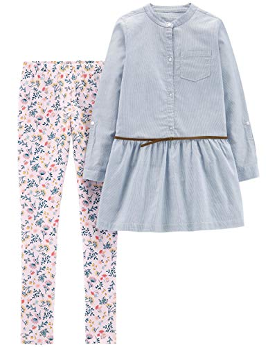 Carter's Girls' 2-Piece Top & Legging Set (4/5, Striped Belted Top/Floral Legging)