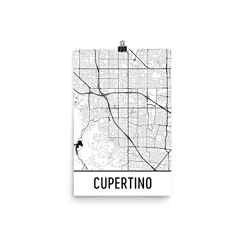 Cupertino Print  Cupertino Art  Cupertino Map  Cupertino California  Cupertino Ca  Cupertino Poster  Cupertino Wall Art  12  X 18   White And Black