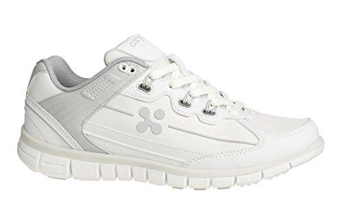 Oxypas Oxysport 'Sunny' Slip-resistant, Antistatic Leather Nursing Trainers, White/Grey (Light Grey), 3.5 UK (36 EU)