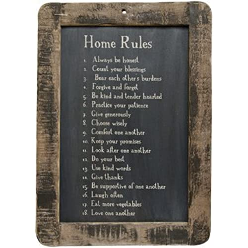 Framed Home Rules Blackboard   Primitive Country Rustic Inspirational Wall  Decor By PUCHAN LM