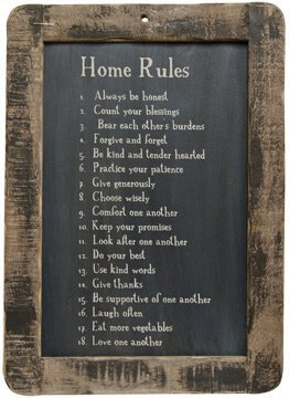 Home Rules' Blackboard with Rustic Wooden Frame