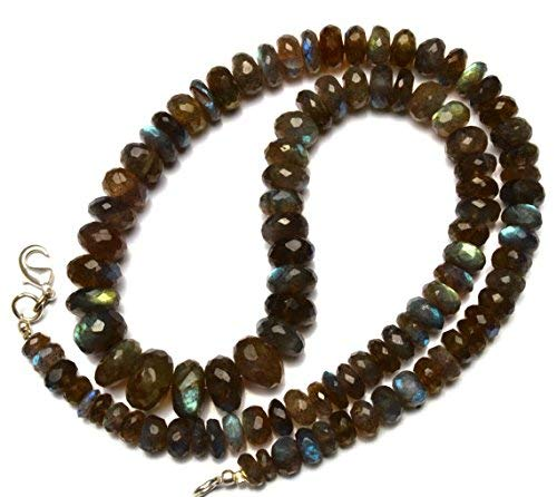 1 Strand Natural Blue Fire Labradorite 6 to 11MM Facet Rondelle Beads 18