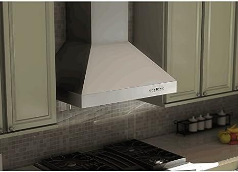Vent Hood,60cm Wall‑Mounted Kitchen Extractor Fan Conventional Cooker Hood Aluminum Alloy Airflow Range Hood Undercabinet Hoods Cooker Hood Wall-Mount Cooker Hood for Home Kitchen,34x60x38cm UK Plug