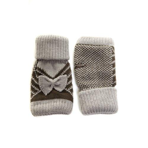 等々前進取るに足らないレディース かわいいリボン付き 指なしタイプ ファッション手袋 フィンガーカットグローブ 冬 女性用