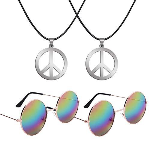 (Sunshane Hippie Dressing Accessory Set 2 Pair of Hippie Glasses and 2 Pair of Hippie Style Peace Sign Necklaces)