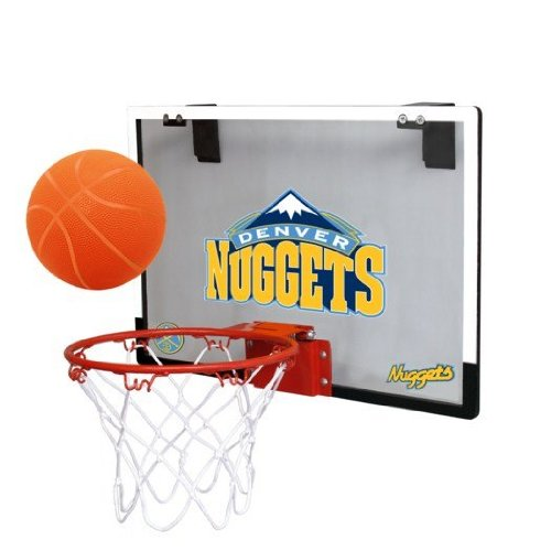 NBA Denver Nuggets Game On Indoor Basketball Hoop & Ball Set (Nuggets Denver Set)